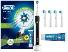Oral-B Cross Action Toothbrush,Toothpaste & 4 Heads